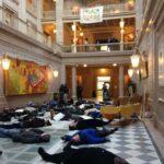 Clergy & Parishioner at Hartford City Hall 'Die In'