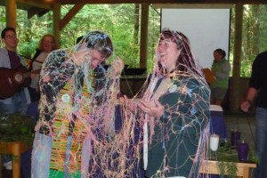 Greg Rickel, bishop of the Diocese of Olympia, covered in silly string during a youth conference. Photo by Gabrielle Westcott.